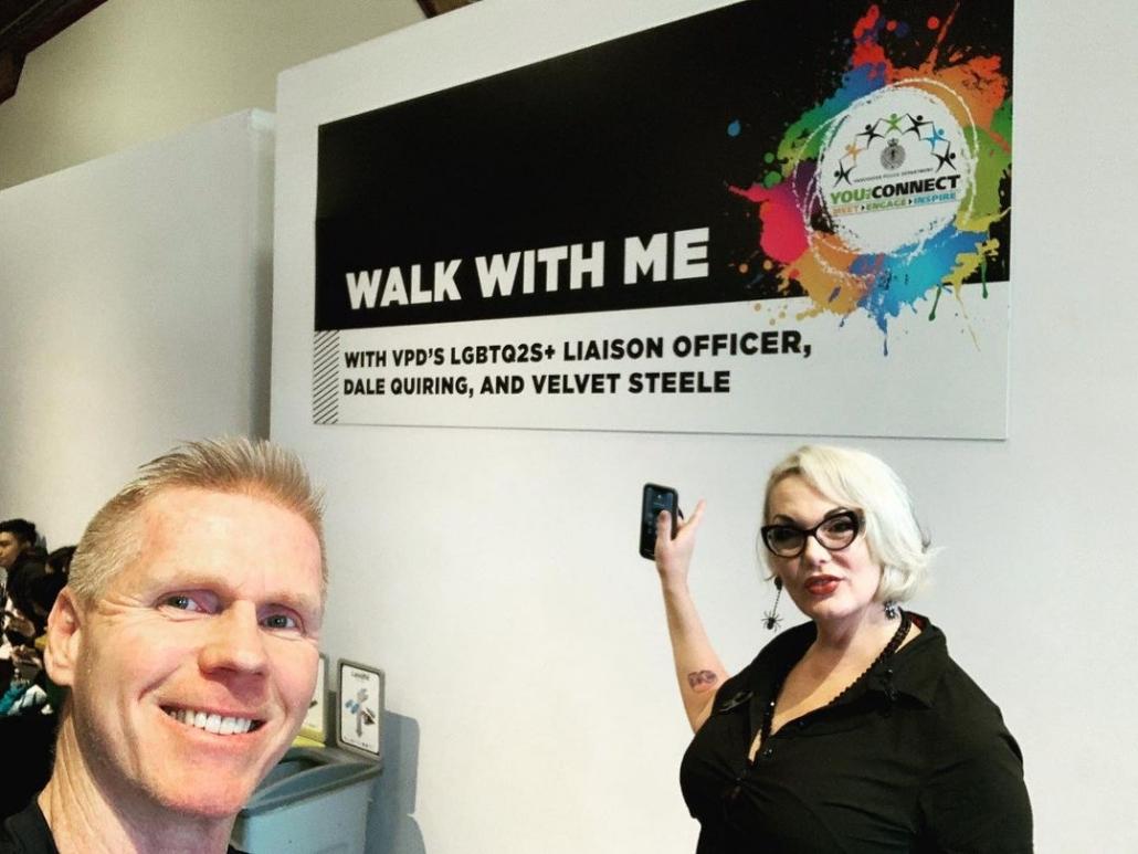 Quiring with trans advocate Velvet Steele
